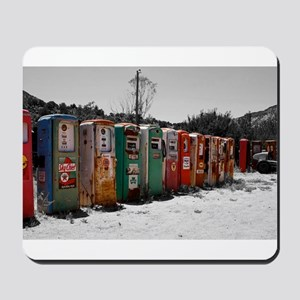 Many Vintage Gas Pumps Standing To Attention Mouse