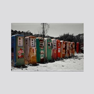 Many Vintage Gas Pumps Standing To Attention Recta