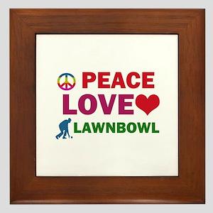 Peace Love Lawnbowl Designs Framed Tile