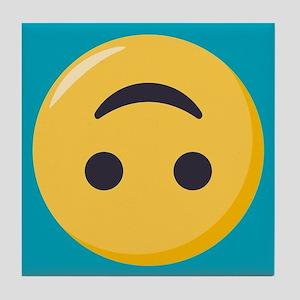 Emoji Upside Down Smiling Face Tile Coaster
