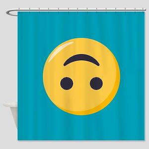 Emoji Upside Down Smiling Face Shower Curtain