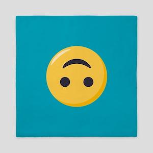 Emoji Upside Down Smiling Face Queen Duvet