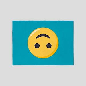 Emoji Upside Down Smiling Face 5'x7'Area Rug