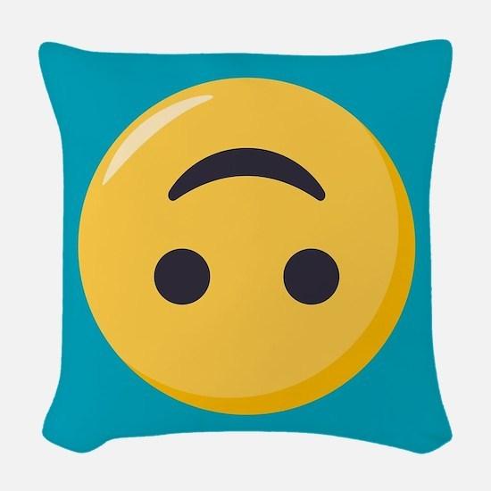 Emoji Upside Down Smiling Face Woven Throw Pillow