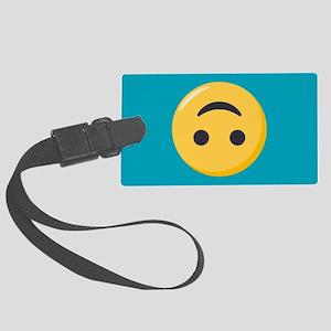 Emoji Upside Down Smiling Face Large Luggage Tag