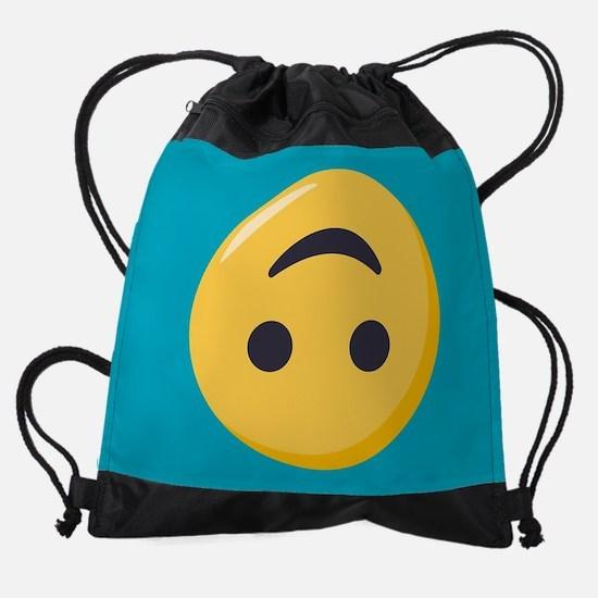 Emoji Upside Down Smiling Face Drawstring Bag