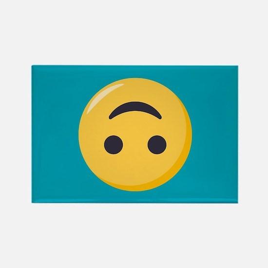 Emoji Upside Down Smiling Face Rectangle Magnet