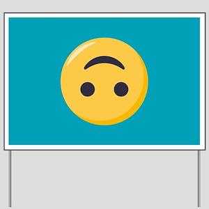 Emoji Upside Down Smiling Face Yard Sign
