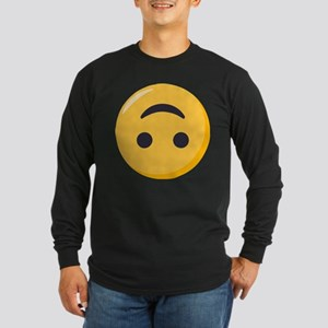 Emoji Upside Down Smiling Long Sleeve Dark T-Shirt
