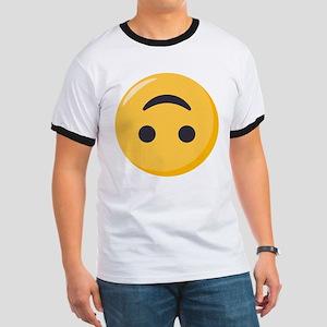 Emoji Upside Down Smiling Face Ringer T