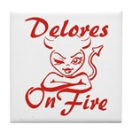 Delores On Fire Tile Coaster
