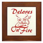 Delores On Fire Framed Tile