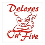 Delores On Fire Square Car Magnet 3