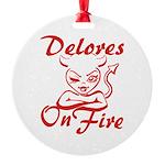 Delores On Fire Round Ornament