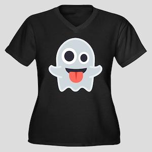 Ghost Emoji Women's Plus Size V-Neck Dark T-Shirt