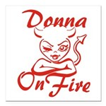 Donna On Fire Square Car Magnet 3