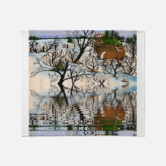 Farm Deer Reflection Throw Blanket