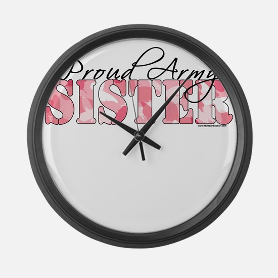 Proud Army Sister (Pink Butterfly Camo) Large Wall