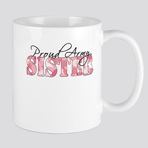 Proud Army Sister (Pink Butterfly Camo) Mug