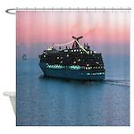 Cruise Ship at Sunset Shower Curtain