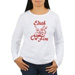Edith On Fire Women's Long Sleeve T-Shirt