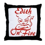 Edith On Fire Throw Pillow
