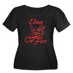 Edna On Fire Women's Plus Size Scoop Neck Dark T-S