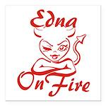 Edna On Fire Square Car Magnet 3