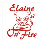 Elaine On Fire Square Car Magnet 3