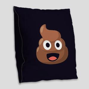 Poop Emoji Burlap Throw Pillow