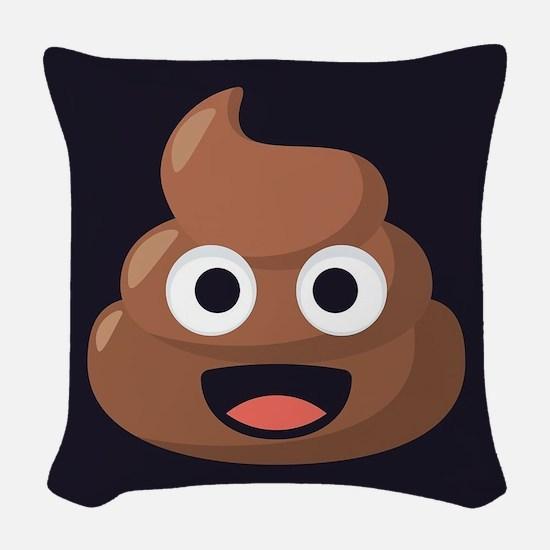 Poop Emoji Woven Throw Pillow