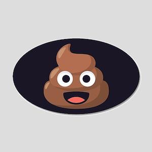 Poop Emoji 20x12 Oval Wall Decal
