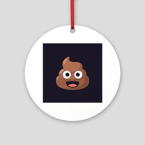 Poop Emoji Round Ornament