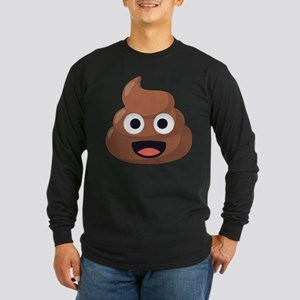 Poop Emoji Long Sleeve Dark T-Shirt