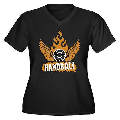 handball Women's Plus Size V-Neck Dark T-Shirt