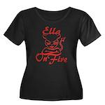 Ella On Fire Women's Plus Size Scoop Neck Dark T-S