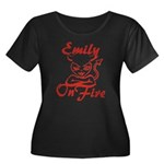 Emily On Fire Women's Plus Size Scoop Neck Dark T-