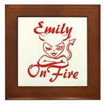 Emily On Fire Framed Tile
