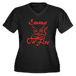 Emma On Fire Women's Plus Size V-Neck Dark T-Shirt