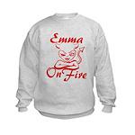 Emma On Fire Kids Sweatshirt