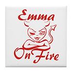 Emma On Fire Tile Coaster