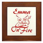 Emma On Fire Framed Tile