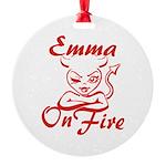 Emma On Fire Round Ornament