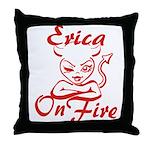 Erica On Fire Throw Pillow