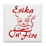 Erika On Fire Tile Coaster