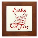 Erika On Fire Framed Tile