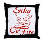Erika On Fire Throw Pillow