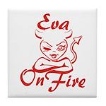 Eva On Fire Tile Coaster