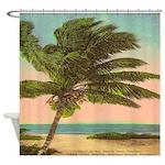 Sanibel Palm Tree Postcard Shower Curtain
