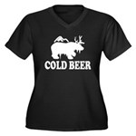 Cold Beer Women's Plus Size V-Neck Dark T-Shirt